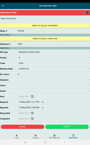 GUARDIAN CMMS Mobile Urgent Work Order Screen