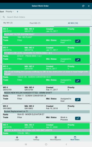 GUARDIAN CMMS Mobile Work Order List