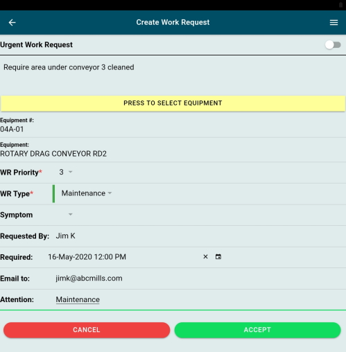 GUARDIAN CMMS Mobile Work Request Screen