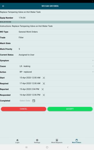 GUARDIAN CMMS Mobile Work Order Edit Screen