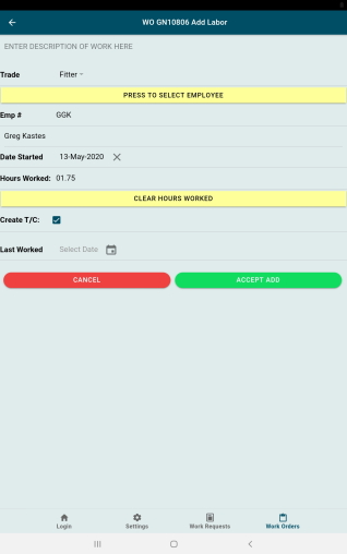GUARDIAN CMMS Mobile Work Order Labour Screen